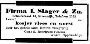 Advertentie uit 1948 in het Nieuw Israëlitisch Weekblad