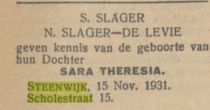 Geboorte dochter Sara, Scholestraat 15, 1931, vermelding in het Nieuw Israelietisch Weekblad
